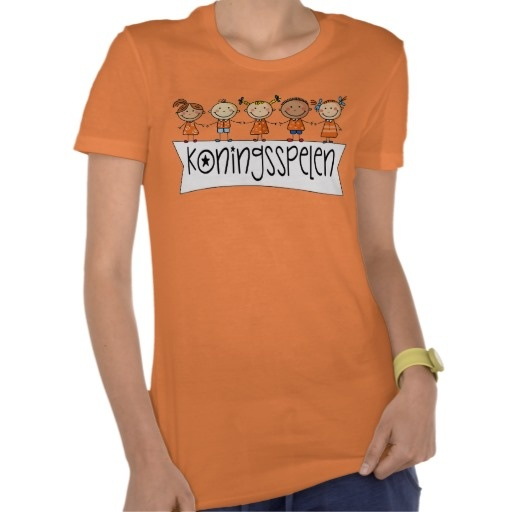 Koningsspelen Koninginnedag T-Shirt voor de juf. Koningsspelen ter ere van de troon wisseling van Koningin Beatrix en Koning Willem Alexander op 30 april 2013 de laatste koninginnedag.  #oranje #holland #nederland #junkydotcom #koninginnedag #koningsdag