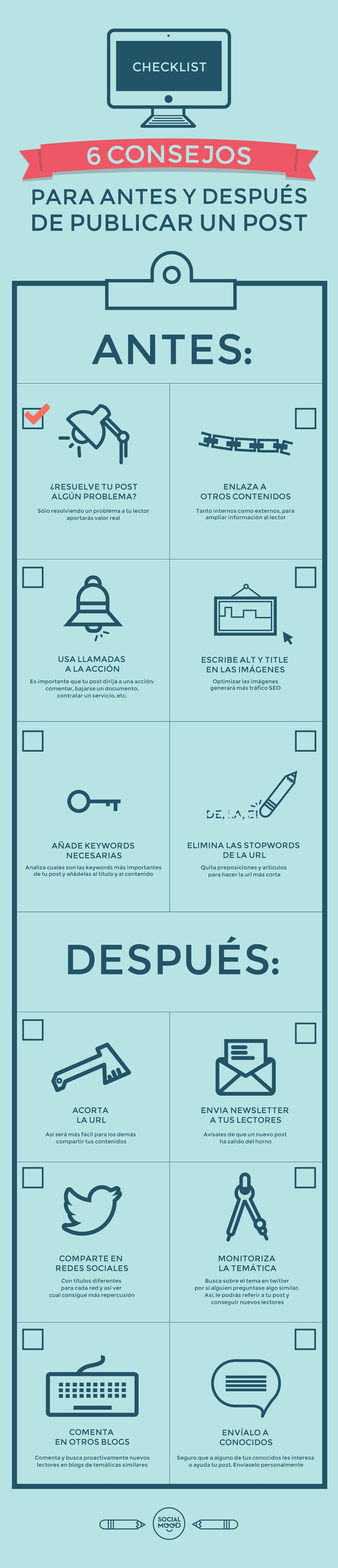 6 consejos para antes y después de publicar un post. Infografía en español. #ComunityManager