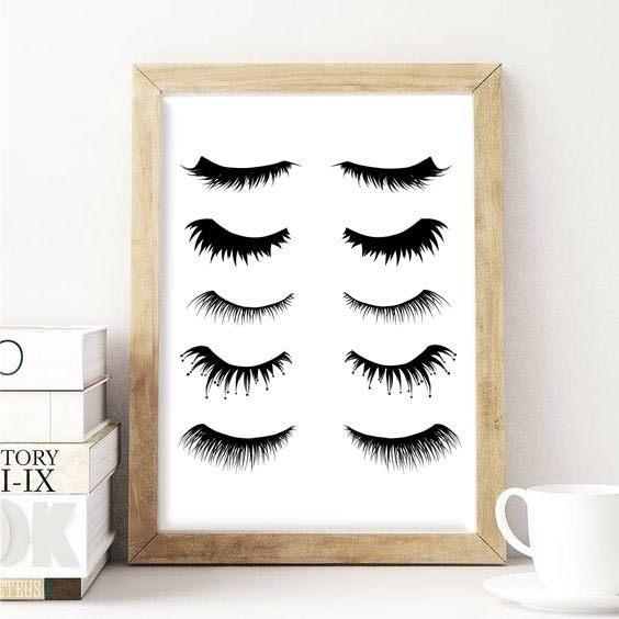 Eyelashes Makeup Wall Art Picture Print Graphic Home Decor Black White A4 in Home, Furniture & DIY, Home Decor, Wall Hangings   eBay!