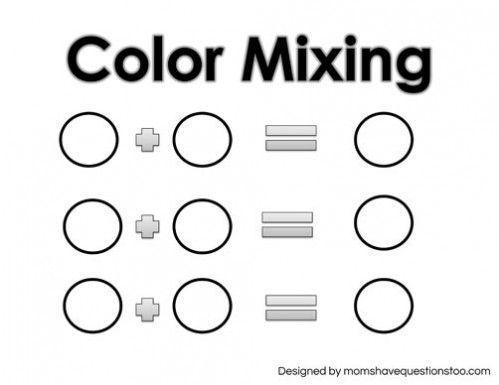 Free Printable! Toddler Color Games Mixing Sheet Moms