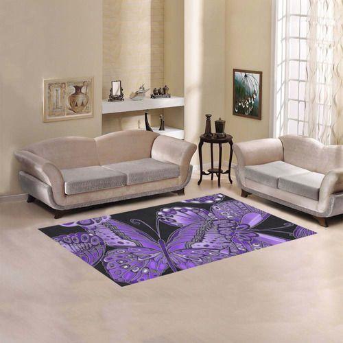 Purple Butterfly Pattern Area Rug 5'x3'3''