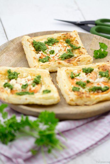 Blätterteig Süßkartoffel Pesto Kräuter vegetarisch Rezept