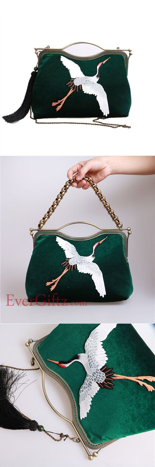 Women Handbag Clutch Vintage Velvet Embroidery Crane Kisslock Metal Frame Party Evening Handbag Women Wallet
