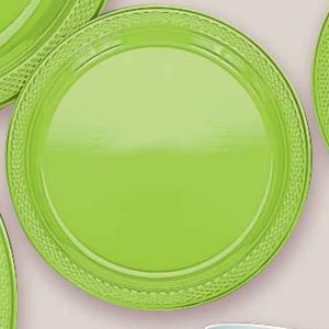 "Plastic Kiwi Dessert Plates.  Plastic 7"" Dessert Plates Solid Colours.  There are 20 Solid Colour Plastic 7"" Dessert plates per package. They come in 22 colours and are a great party accessory where you want to match a colour and you also want a plate that is stronger than paper."