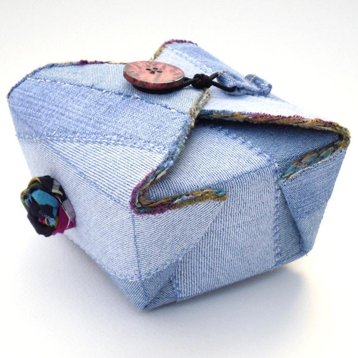 Fabric Box, Blue Denim, Recycled Upcycled. $25.00, via Etsy.