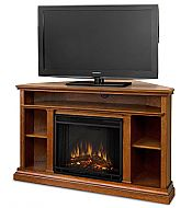 """50.75"""" Churchwell Oak Entertainment Center Corner Electric Fireplace. This electric fireplace will provide warmth and enjoyment which makes it the perfect alternative to any standard TV stand. The 33"""" height allows for the TV to be placed at a comfortable viewing level. This entertainment center fireplace is available in Oak or Dark Espresso Finish. The gel fuel version is available which allows for live fire, please call for more details!"""