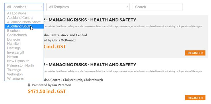 Upcoming course & events list - http://worksafereps.co.nz/