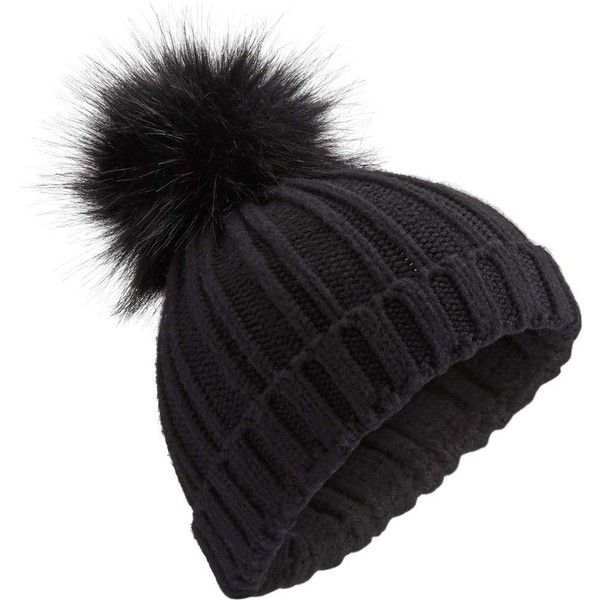 Miss Selfridge Black Faux Fur Pom Pom Beanie Hat ($16) ❤ liked on Polyvore featuring accessories, hats, beanie, black, fake fur hats, pom pom hat, beanie hat, pompom hat and beanie caps