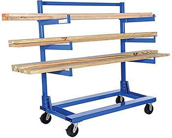 """Vestil CANT Cantilever Rack Carts, models CANT-3048, CANT-3648, & CANT-3060 are perfect for storing and transporting all types of bar stock material including conduit, pipe, angle iron, and tubing. Carts feature three pairs of 2½""""W cantilever arms. Arms are bolted to the cart and are easily height adjustable from 17½"""" to 59¼"""" in 6"""" increments. Cantilever cart base includes 5½""""W x 2""""H fork pockets for forklift transport. Vestil CANT Cantilever rack carts roll ..."""