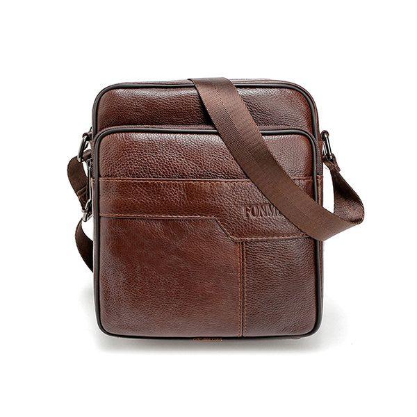 Bolso de cuero genuino de Crossbody bolso de hombro sólido de negocios para hombres
