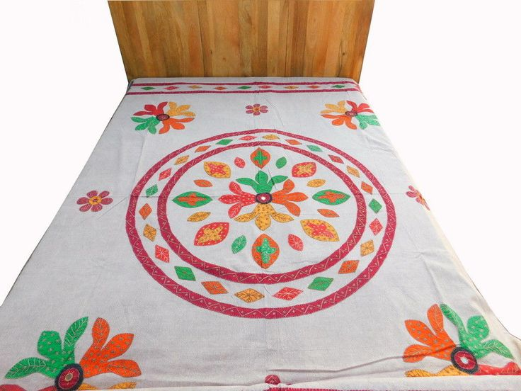 Mirror Bed Work Tapestry Embroidery Bedspread Indian Applique Cover Spread DS2 #Handmade #Traditional