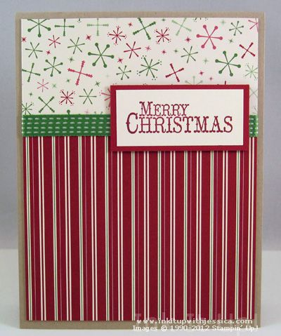 simple patterned paper squares with merry christmas topper on