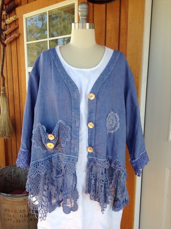 Luv Lucy Linen and lace jacket in Ocean Blue ** plus size fits large thru 2x