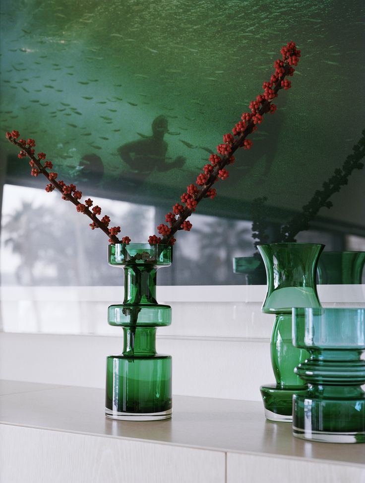 Living detail Green Holmegarde glass with Narelle Autio artwork. Brooke Aitken Design