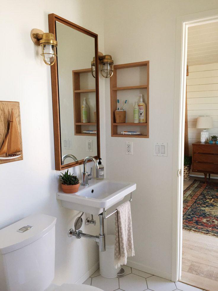 west elm california retro beach house makeover wall cubby bathroom