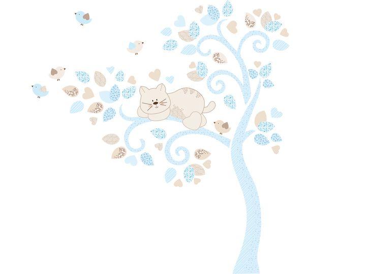 Albero vento con gatto e uccellini Adesivi murali per cameretta