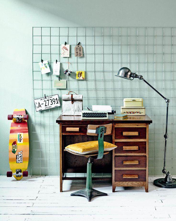 Workplace with industrial chair in this blue boys room | Styling Leonie Mooren, Valerie van der Werff | Photographer Ernie Enkelaar | vtwonen May 2015