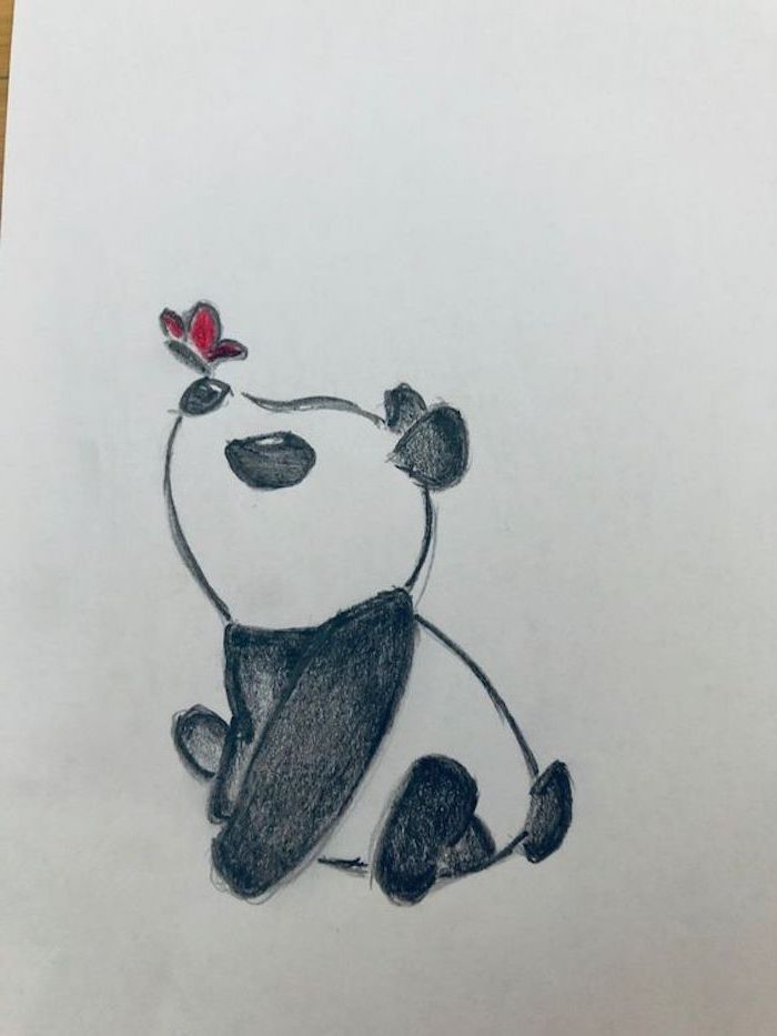 easy-drawings-for-kids-baby-panda-smelling-red-flower-black-and ...
