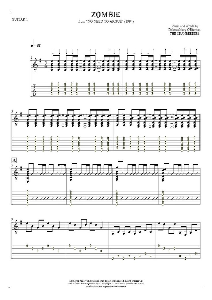 Zombie sheet music by The Cranberries. From album No Need to Argue (1994). Part: Notes and tablature for guitar - guitar 1 part.