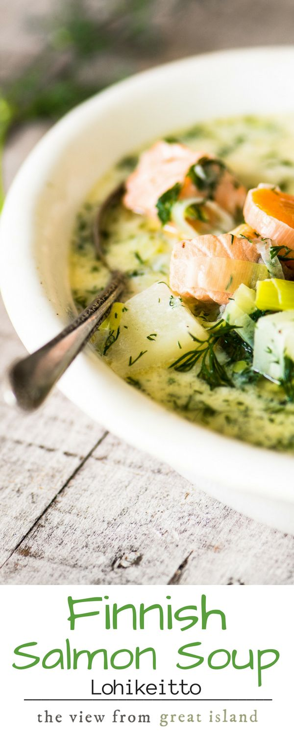 Finnish Salmon Soup – Lohikeitto ~ this simple salmon and potato soup is the ultimate 30 minute spring meal, with a light cream broth, melt-in-your-mouth chunks of salmon, and tons of fresh dill! | spring | appetizer | fish | seafood | healthy | gluten free |