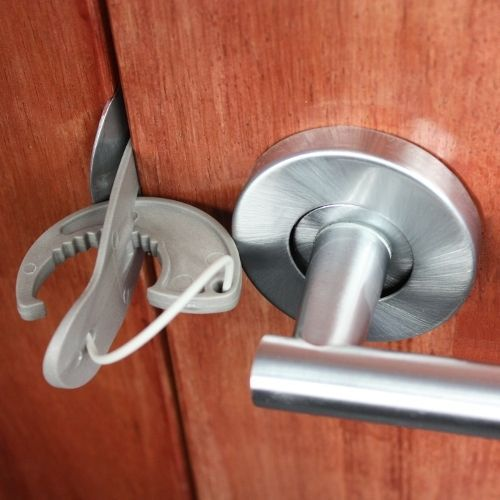 The Howsar Quick Lock is a lightweight, portable locking system that easily and securely locks the room that you occupy.