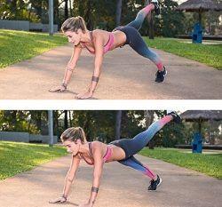 Prancha abdominal com toque no ombro e elevação de perna Em posição de flexão, encoste uma das mãos no ombro oposto e faça o mesmo com o outro lado. Na sequência, eleve uma perna e depois a outra. Repita o movimento das mãos e assim por diante. Por que é bom: trabalha reto abdominal, oblíquos e transverso abdominais, extensores da coluna, músculos da cintura escapular, glúteos e tríceps.