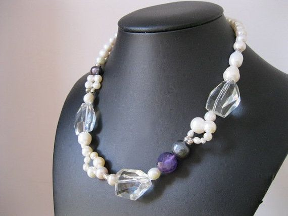 Statement - White and Black Pearl Necklace with Amethyst and Chunky Rock Quartz and Sterling Silver