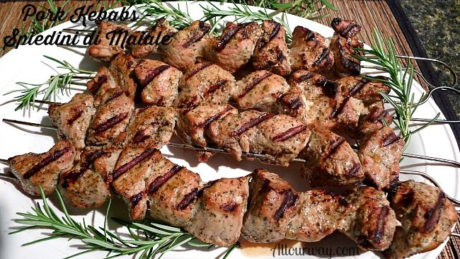 Grilled Pork Kebabs - Spiedini di Maiale - All Our Way are fast, easy and very tasty. The pork is first marinated before it is threaded on a skewer.