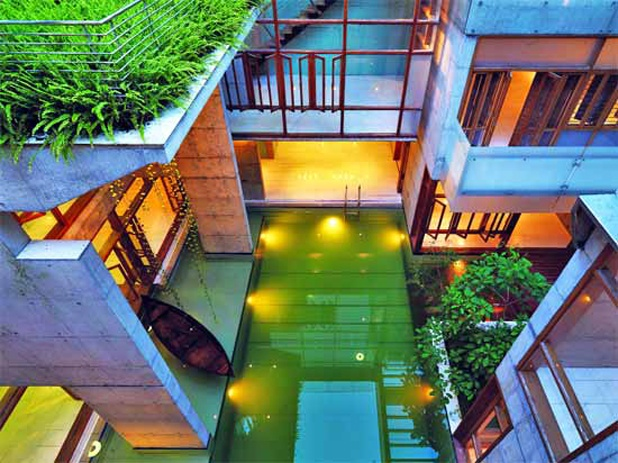 courtyard pool . S. A. Residence . Dhaka, BangladeshArchitecture House, Nature, Emeralds Pools, Pools House, Architecture Interiors, Dreams House, Courtyards Pools, Dream Houses, Buildings Surroundings