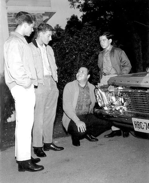 """Frank Bank, third from left, with Tony Dow (Wally), Ken Osmond (Eddie Haskell) and. Jerry Mathers (Beaver) in an undated photo from """"Leave It to Beaver."""""""