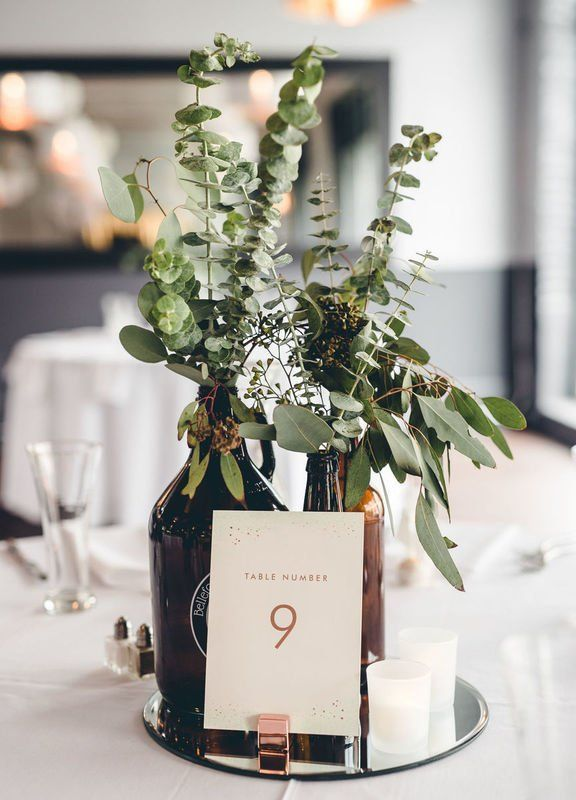 Beer-inspired wedding centerpiece idea with eucalyptus – modern + simple #center…