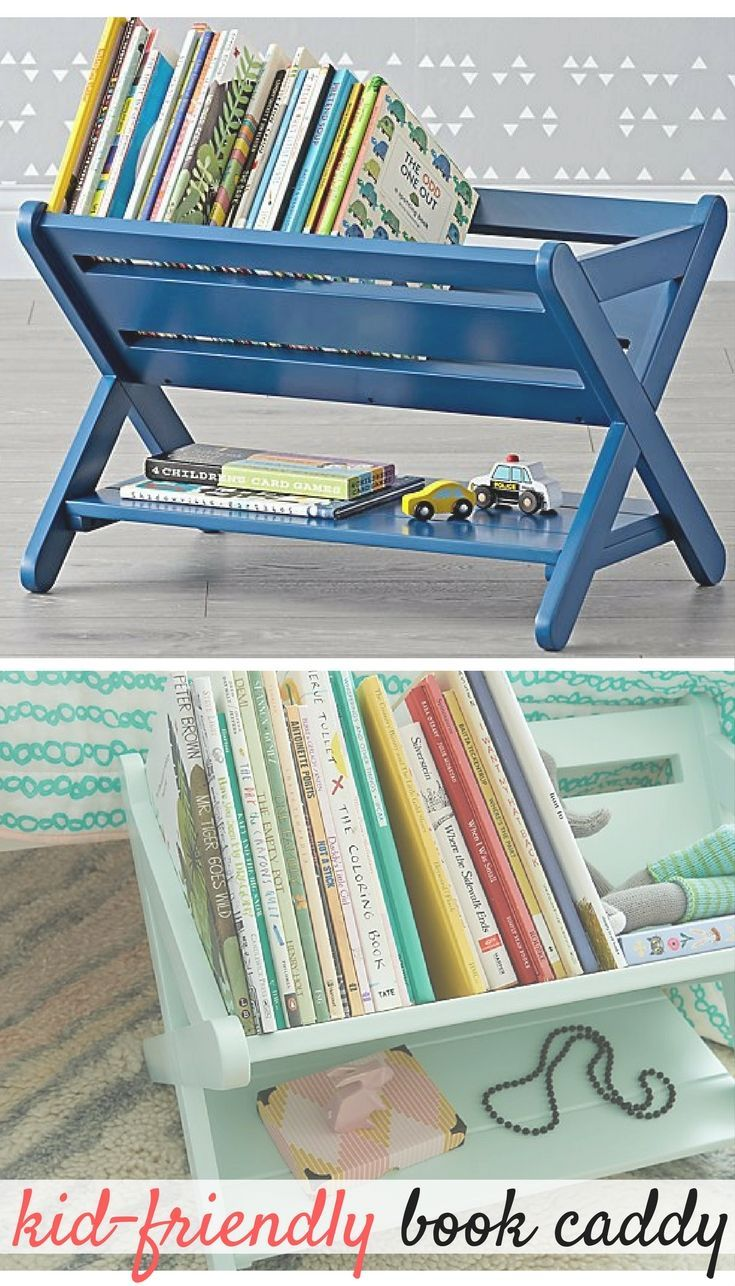 Durable Book Shelf Caddy for Kids Room. Comes in mint, dark blue ...