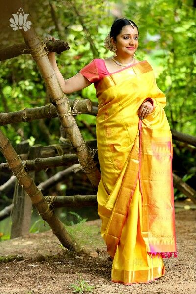 Yellow and peach combo kanchipuram saree