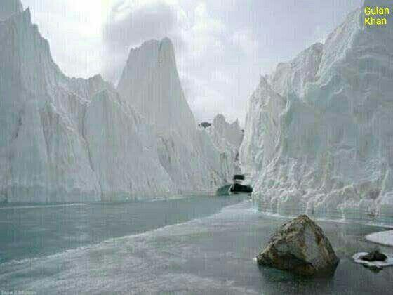 So fantastic photography of beautiful glacier river in Baltimore glacier Karakoram mountains range Hunza valley Gilgit Baltistan Pakistan