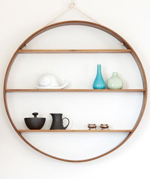 Solid Walnut Circle Shelf, large | Bride & Wolfe