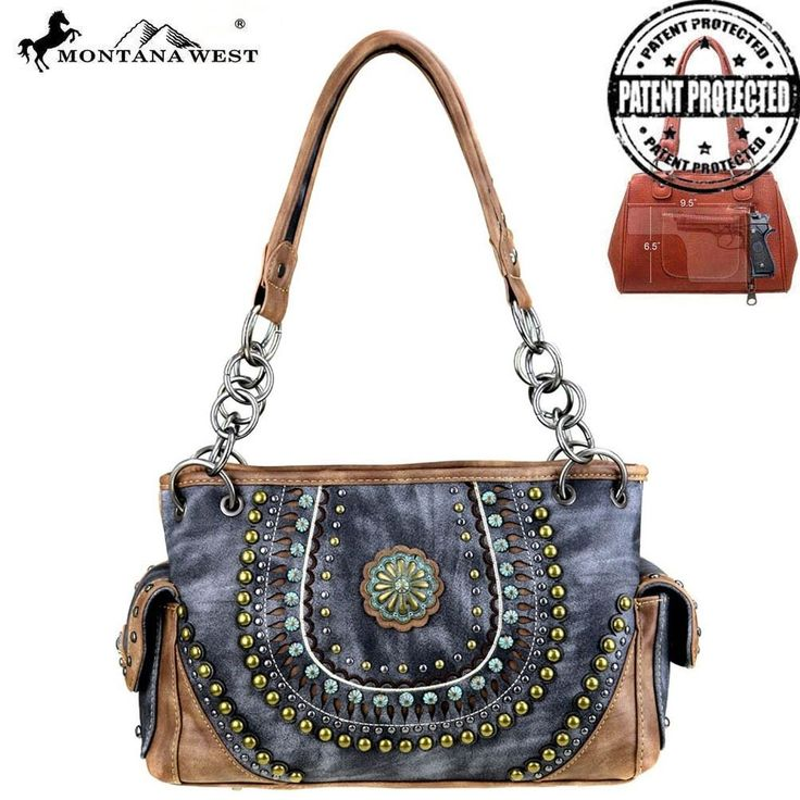 Montana West Brown and Gray Concho Collection Concealed Handgun Satchel  #MontanaWest #Satchel