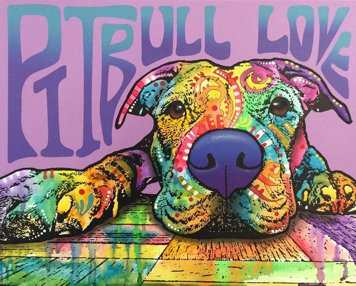 PITBULL LOVE Lying (Original Multiple on Canvas) 6920151034A – Dean Russo Art