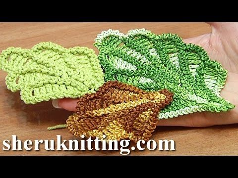 3D Crochet Leaf Tall Stitches Tutorial 28 Part 2 of 2 Crochet Volumetric Branches - YouTube