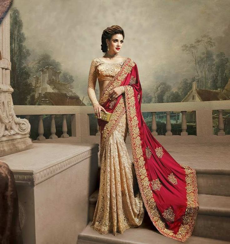 Beige & Red Net Bridal Saree And Pure Satin Pallu With Banaras Gota Blouse Bridal Sarees for Women, buy bridal sarees online‎, designer bridal saree‎, Designer Bridal Sarees‎, Indian Bridal Wedding Sarees‎, Latest Bridal Sarees‎, Wedding Saris