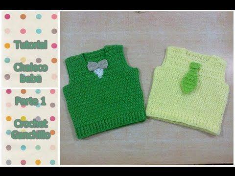 DIY Como tejer chaleco de bebe a crochet (Parte 1 de 3) - YouTube
