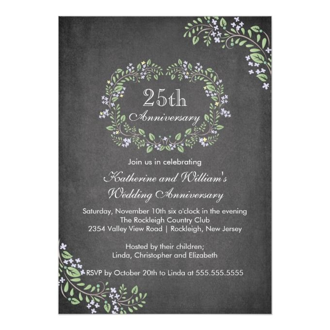 582 best anniversary party invitations images on pinterest vintage chalkboard floral frame anniversary party 5x7 paper invitation card stopboris Image collections
