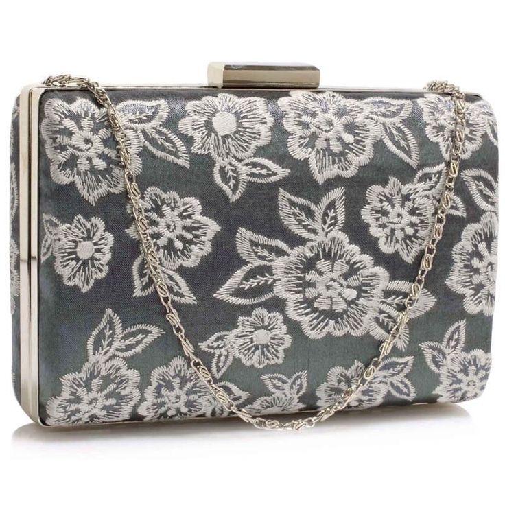 Urocza haftowana torebka wizytowa szara szary || biały | Sklep internetowy Evangarda.pl
