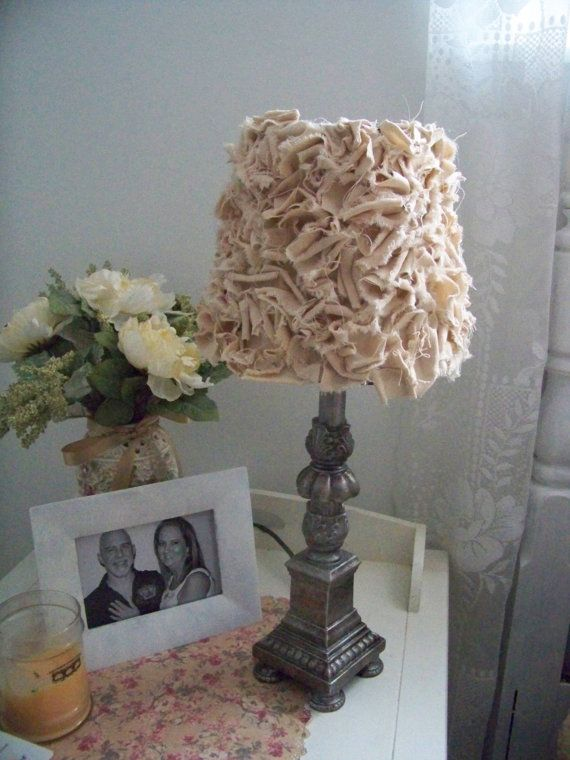 shabby chic lamp shade.  would be fun to make using any color.