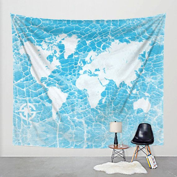 Industrial Tapestry World Map Printed Fabric Wall Hanging  Wall Tapestries are made of 100% lightweight polyester with hand-sewn finished edges. Featuring vivid colors and crisp lines, these highly unique and versatile tapestries are durable enough for both indoor and outdoor use. Machine washable for outdoor enthusiasts, with cold water on gentle cycle using mild detergent - tumble dry with low heat.  Digital art of the map of a world map in on fabric.  Please note, actual colors may vary…