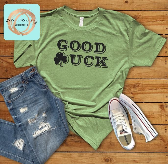 St. Patrick's Day/St. Patty's Day - GOOD LUCK Shamrock Adult OR Youth Tee T-Shirt