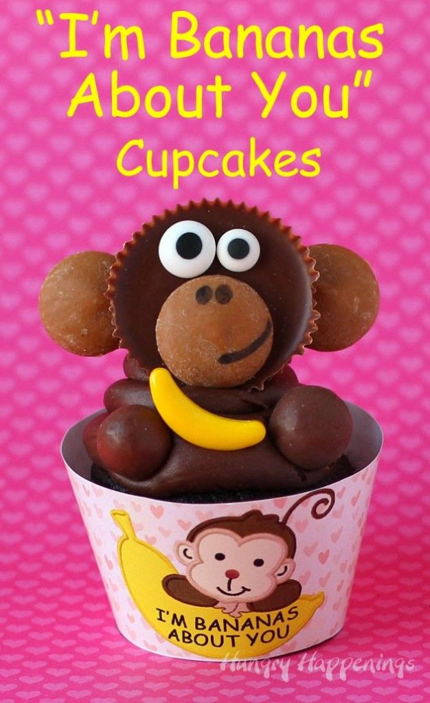 """Reese's Cups Monkeys sit atop chocolate cupcakes wrapped in  printable wrappers that say """"I'm Bananas About You."""""""