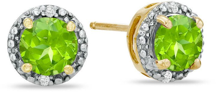 Zales 6.0mm Peridot and Diamond Accent Frame Stud Earrings in 10K Gold 01r2rI