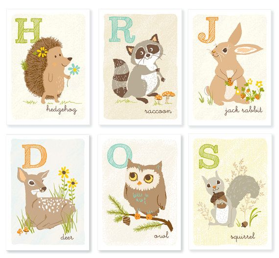 Woodland Nursery Art.  Beautiful colors and characters!