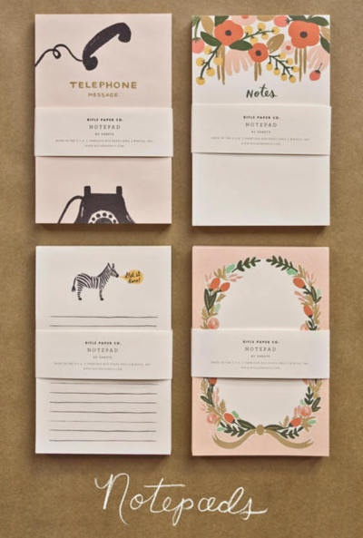 """These notepads from Rifle Paper Co make me want to get my office and desk in """"back-to-school order"""" with objects that inspire me to plan, organize and be prepared for the rest of the year.  I wanted to provide more detailed information about the new line of notepads and calendars for 2012 with these delightful paintings but the high traffic from Design Sponge I must have eaten their server. Hopefully, it'll be back up now.  (via Design*Sponge)"""