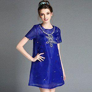 Women Plus Size Clothing Vestidos Embellished Beaded Summer Sheer Mesh A Line Dresses S-5XL